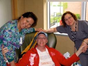 Ken with Marie (l) and his girlfriend Blanca (r) after what we hoped at the time would be is only round of chemo. They both took great care of him. April 30, 2010