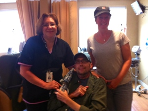 with Blanca and sis-in-law Katie on a social visit to the cancer center. May 13, 2011